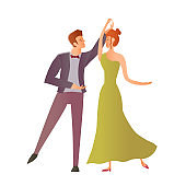 Young happy couples in love. Man and woman dancing ballroom dance. Vector Illustration, isolated on white.