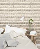 Bedroom room interior space corner of bed and Decorative wall in hotel - 3d rendering minimal style  3dapartmentarchitecturebackgroundbedbedroombookcafechaircleanclearcolorcomfortableconceptcondominiumcontemporarycornerdecordecorationdecorativedesigndinin