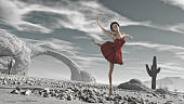Ballerina with red tutu