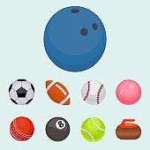 Set of balls isolated tournament win round basket soccer hobbies game equipment sphere vector illustration