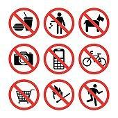 Prohibition signs set safety information vector illustration