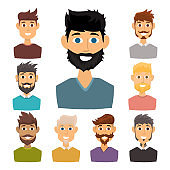 Character of various expressions bearded man face avatar and fashion hipster hairstyle head person with mustache vector illustration