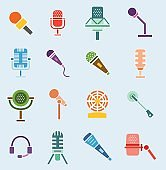 Different microphones vector icons interview music studio web broadcasting
