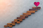 Concept or conceptual brown wood or wooden stair