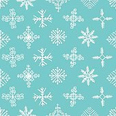 Hand drawn winter seamless patterns with snowflakes