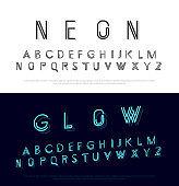 neon modern font and alphabet minimal style design concept. vector illustrator