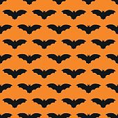 Vector seamless pattern for halloween party  in orange and violet colors.