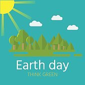 Earth Day postcard. Eco friendly ecology concept.