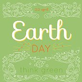 Earth Day hand drawn lettering card, modern linear style.