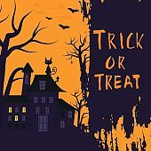 Happy halloween poster design with traditional symbols and hand drawn lettering