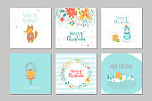 Collection of 6 Merry Christmas cute greeting card with animals,