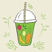 Hand drawn jar with smoothies