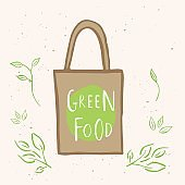 Hand drawn shopping eco bag with lettering Green food