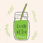 Hand drawn jar with smoothies, green detox.