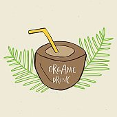 Hand drawn coconut, sign of summer drink, smoothies, green detox