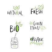 Vector eco, bio green  or sign. Vegan, raw, healthy food bad
