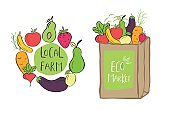 Hand drawn shopping bag with lettering Eco market for green food