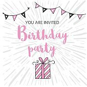 Happy Birthday greeting card and party invitation templates, bla