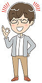 A casual man is issuing an OK sign