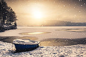Snowy Morning By The Lake
