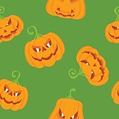 seamless pattern color pumpkins green