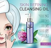 Vector Illustration with Manga style girl and skin cleansing oil