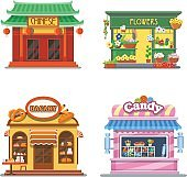 Nice showcases of shops. Bakery, candy store, chinese food, flower outlet. Flat vector illustration set.