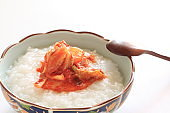 Korean food, kimchi on porridge