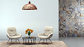 Two modern armchairs with blank wall interior render