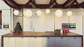 Christmas theme decorated apartment interior