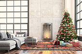 Christmas interior with a fireplace, Christmas tree with presents and gray sofa