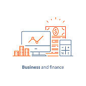 Financial performance analytics, income increase, long term investment, fund management, dividends graph, productivity report