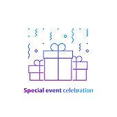 Anniversary celebration, happy birthday congratulations, group of three surprise gift boxes, falling confetti, vector illustration