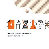 Scientific research, science education icons set