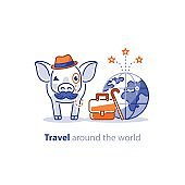 Travel around the world concept, tourism services, pig with baggage