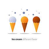 Ice cream cone, chocolate glazing, tasty flavor, cool refreshing dessert