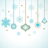 Christmas decorations. New Year. Ball. Holidays. Vector illustration. Winter. Snowflakes.