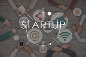 Top view of six People Working and Startup Business Concept