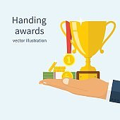 Handing awards concept.