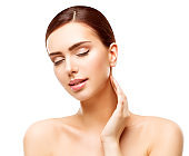 Woman Beauty Face Skin Care, Natural Skincare Makeup, Beautiful Model Touching Body Neck