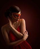 Woman Mask, Sexy Fashion Model in Red Carnival Masquerade, Desire Girl