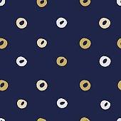 Seamless modern dark blue vector doodle circle texture, dry brush ink art
