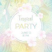 Pale vector tropical background with palm leaves and exotic flowers