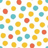 Seamless multicolored baby vector free hand doodle polka dot texture