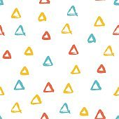 Seamless multicolored baby vector free hand doodle texture with triangles