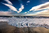 Beautiful scenery on the sea shore, the waves and beach