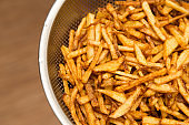 cooking potato fries in oil