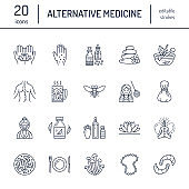 Alternative medicine line icons. Naturopathy, traditional treatment, homeopathy, osteopathy, herbal fish and leech therapy. Thin linear signs for health care center. color