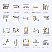 Outdoor advertising, commercial and marketing flat line icons. Billboard, street signboard, transit ads, posters banner and other promotion design element. Trade objects colored thin linear sign