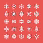 Cute snowflakes collection isolated on red background. Flat snow icons, snow flakes silhouette. Nice element for christmas banner, cards. New year ornament. Organic and geometric snowflake set
